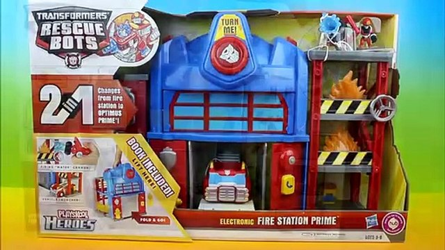 Transformers Rescue Bots Electronic Fire Station Prime Optimus Prime