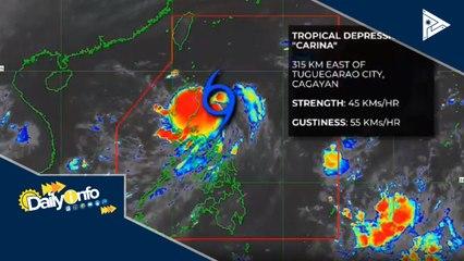 TD #CarinaPH, namataan sa 315-km silangan ng Tuguegarao City, Cagayan