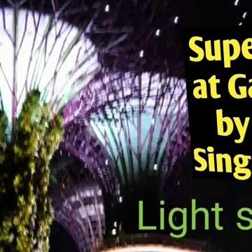 Gardens by the bay Singapore light show/ Supertree light show खूबसूरत लाइट शो  / Singapore garden by bay light show