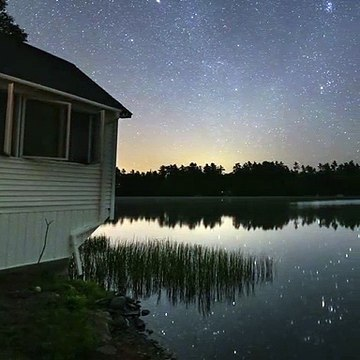 beautiful nature scene in bright sky in night