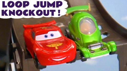 Hot Wheels Loop Race Challenge with Disney Pixar Cars 3 Lightning McQueen and PJ Masks with Spongebob Squarepants and the Funny Funlings in this Family Friendly Full Episode English Toy Story for Kids