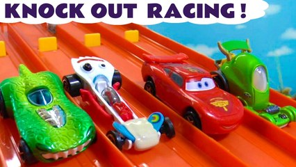4 Lane Racing with Hot Wheels PJ Masks and DC Comics Batman and Superheroes plus Disney Pixar Cars Lightning McQueen in this Family Friendly Full Episode English Toy Story Race for Kids with paw Patrol Mighty Pups Marshall as Judge
