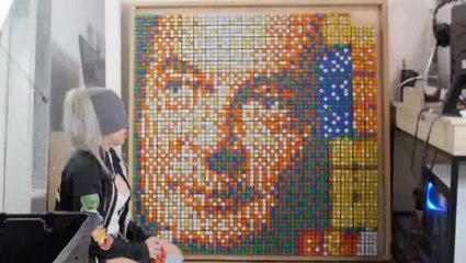 Woman Makes Impressive Rubik's Cube Portrait While Blindfolded
