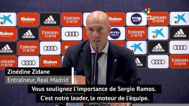 """37e j. - Zidane : """"Sergio Ramos est le moteur de l'équipe"""""""
