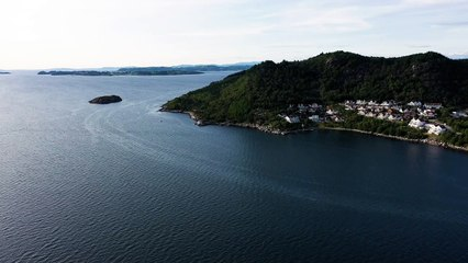 Drone view mountains and sea