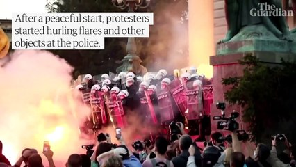 Serbian protesters clash with police over government handling of coronavirus – video report