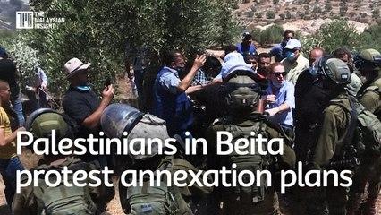 Palestinians in Beita  protest annexation plans