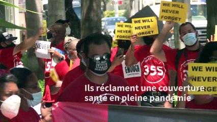 USA: des employés du secteur hôtelier manifestent à Miami Beach