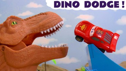 Disney Cars 3 Lightning McQueen in Hot Wheels Funlings Race with Marvel Avengers and Finding Nemo  with DC Comics Batman in this Racing Dinosaur Challenge Full Episode Toy Story for Kids