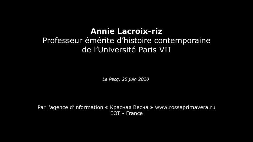 Interview sur les conditions du déclenchement de la Deuxième Guerre mondiale. Annie Lacroix-Riz   -  25/06/2020