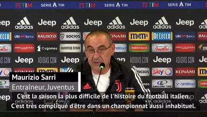 """36e j. - Sarri : """"La saison la plus difficile de l'histoire du football italien"""""""