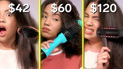 We tried a $42 vs. $120 brush straightener on curly hair to see how much you should spend