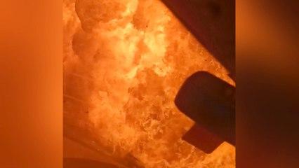 Riesiger Feuerball: Brennende Tankstelle in Russland explodiert