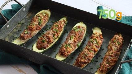 Recette des courgettes farcies au boeuf et ciboulette - 750g