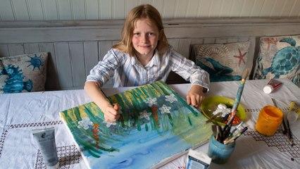 10.000 Euro für ein Bild: Kleine Künstlerin malt für Krebspatienten
