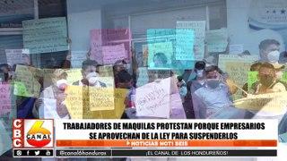 Trabajadores de maquilas protestan