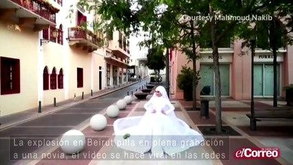 La explosión de Beirut pilla una novia en plena grabación, el vídeo se hace viral