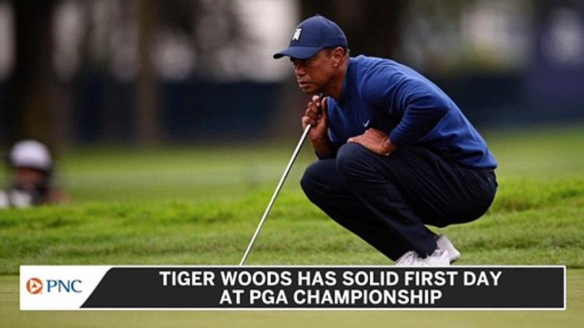 Tiger Woods Misses Five Fairways, Still Has Solid Day 1 At PGA Championship