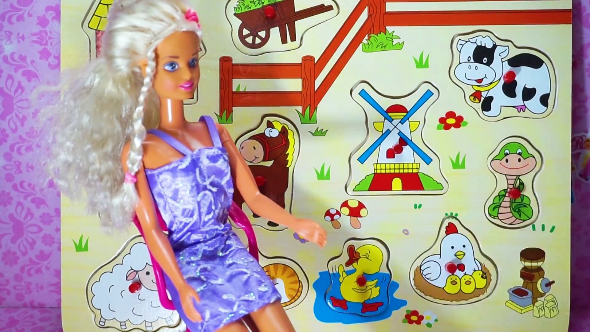 Barbie Doll Learning Farm Animals- Learning Farm Animals for Kids- Video For Kids