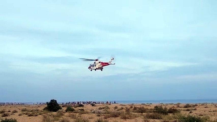 Coastguard helicopter lands on Eastney beach