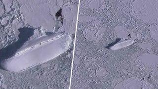 Un mystérieux bateau de 120m de long couvert de glace repéré en Antarctique