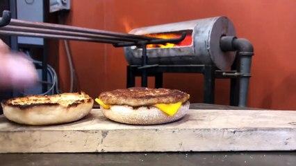 Adding Hot Glass to a Breakfast Sandwich