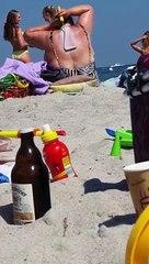 Elle utilise un rouleau à peinture pour s'étaler de la crème solaire, les internautes valident