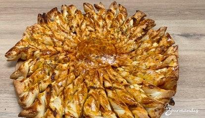 Recette : Tarte soleil à la tapenade de tomates, feta et chorizo