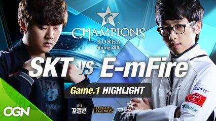 [H/L 2016.01.29] SKT vs E-mFire Game 1 - RO1 l 롯데 꼬깔콘 LoL Champions Korea Spring 2016