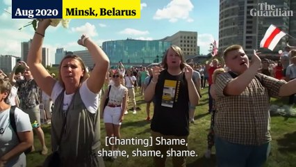 Tens of thousands gather in Minsk for biggest protest in Belarus history – video
