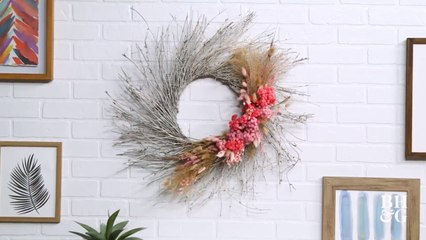 Make a Dried Grass and Floral Wreath