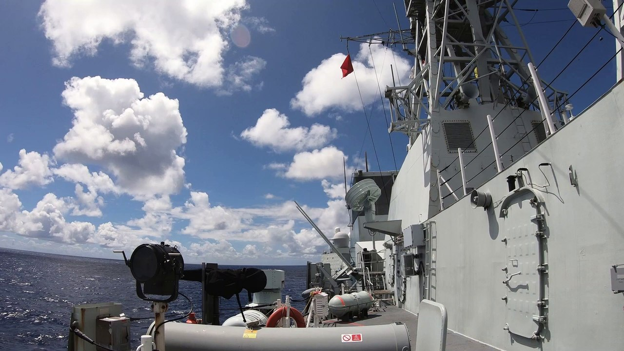 HMCS Regina • Fires two Harpoon Surface to Surface Missiles • Pacific Ocean Aug. 29, 2020