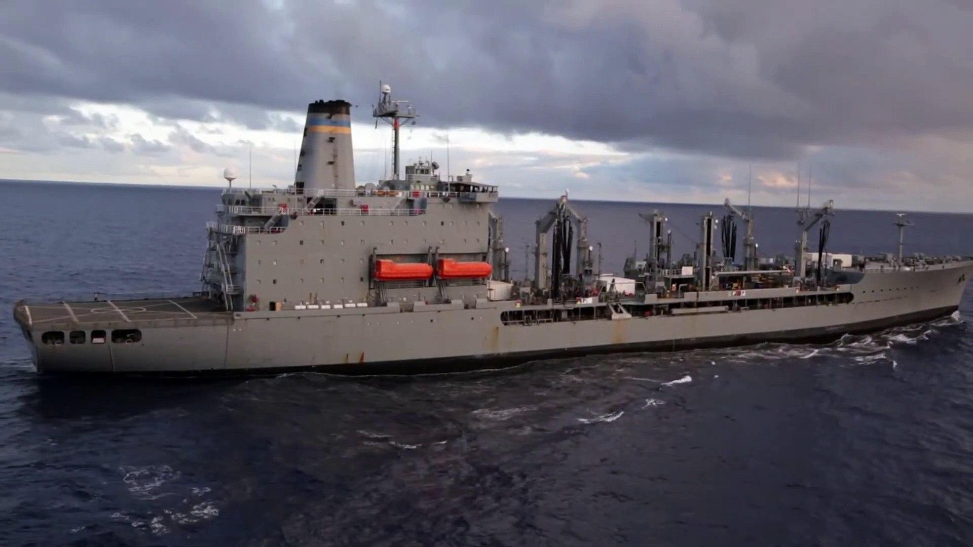 Amphibious Dock Landing Ship • USS Comstock • Coducts RAS • Pacific Ocean 2020