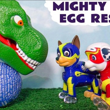 Paw Patrol Mighty Pups Surprise Eggs Rescue with the Funny Funlings and a Dinosaur in this Family Friendly Full Episode English Toy Story for Kids