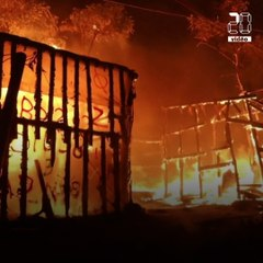 Grèce: Les images du camp de migrants de Lesbos en feu