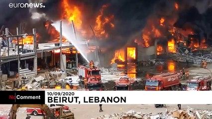 تصاویر آتشسوزی در بندر بیروت؛ این بار بالگرد به کمک آمد