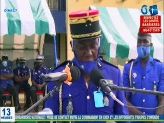 RTG / Prise de contact entre le commandant en chef de la gendarmerienationaleet les troupes d'Owendo