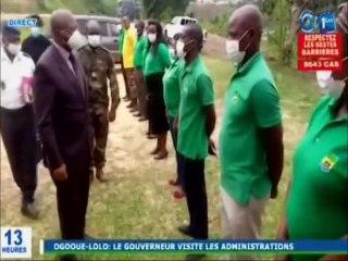 RTG / Visite du Gouverneur Jean Bosco ASSINGARAGNI dans les administrations de l'Ogooué-lolo