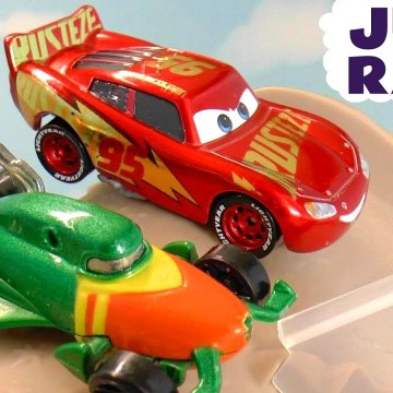Disney Pixar Cars 3 Lightning McQueen in a Hot Wheels Jump Challenge versus PJ Masks and DC Comics Aquaman in this Family Friendly Full Episode English Toy Story Funlings Race English Story for Kids