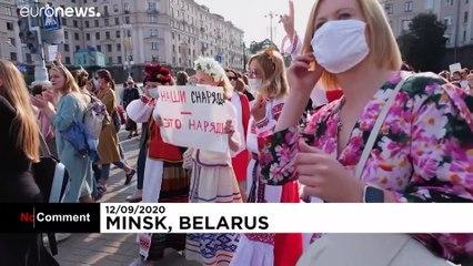 تظاهرات ده هزار زن بلاروسی مخالف لوکاشنکو در مینسک