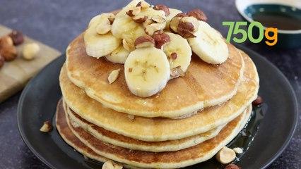 Recette de pancakes au sirop d'érable, bananes et noisettes - 750g