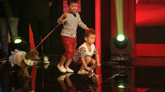 Hai anh em ruột thần đồng xiếc Minh Quang - Minh Nhật trình diễn với các chú chó.