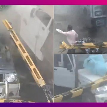 Freak Accident At Railway Crossing In MP: রেলওয়ে ক্রসিংয়ে এসে ধাক্কা মারল দ্রুতবেগে ধেয়ে আসা ট্রাক