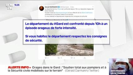 """Orages dans le Gard: sur Twitter, Gérald Darmanin apporte un """"soutien total aux pompiers et à la Sécurité civile mobilisés sur le terrain"""""""