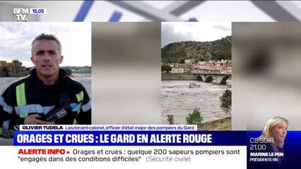 """Orages dans le Gard: selon le lieutenant-colonel Olivier Tudela, """"il faut s'inquiéter pour les heures à venir, être prudent"""""""