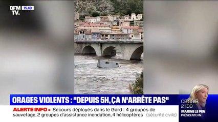 Orages dans le Gard: 11 routes fermées à la circulation, des habitants en cours d'évacuation