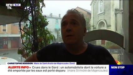 Crues dans le Gard: le maire de Saint-André-de-Majencoules annonce qu'un automobiliste dont la voiture a été emportée par les eaux est porté disparu