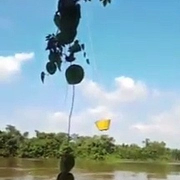 how to take water from the river ?? Amazing helicopter