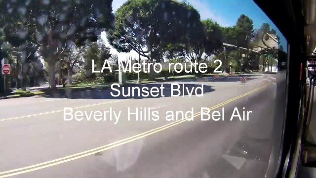 4 Beverly Hills bus ride on Sunset Blvd /Beverly Hills via Sunset Blvd en bus /Beverly Hills via Sunset Blvd en autobús /Beverly Hills via Sunset Blvd de ônibus /Beverly Hills über Sonnenuntergang blvd mit dem Bus
