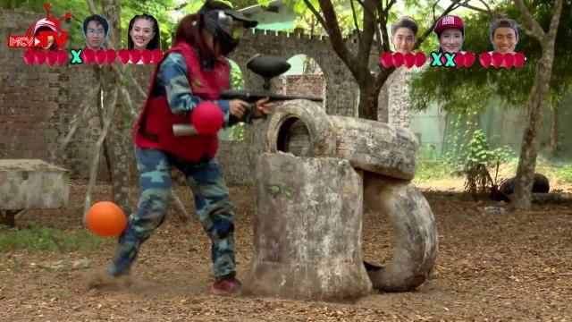 """Lan Trinh - Cát Tường """"bầm dập"""" với thử thách bắn súng sơn."""